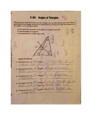 Angles of Triangles Worksheet MATH 122