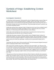 symbols of kings establishing context worksheet Ruth forestal 01/18/2015 0104 symbols of kings establishing context what  does the lion represent why would the rulers of england include so many of  them.