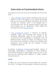 Copy of notes on Psychoanalysis theory