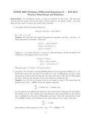 MATH 2260 Winter 2014 Practice Final Exam Solutions