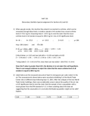 Elementary Statistics Special assignment for Sections 8.2 and 8.3
