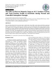 7.Oz et al., 2010. The effect of harvest maturity stage on ACC synthase activity ... in Kiwifruits d
