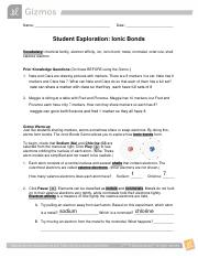 Gizmos IonicBondsSE.pdf - Name Date Student Exploration ...