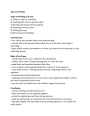 Notes and tips on Writing Academic Essays