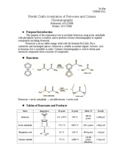 a lab experiment acetylation of ferrocene Chemistry 216-217 lab report format sample good report chm 216(1) the purpose of this lab is to prepare 4 calculate percent yield and do a tlc experiment.