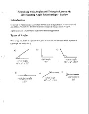Math 2201 Angle Relationship Review Notes