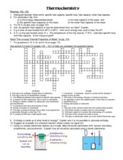 thermochemistry-worksheet - Thermochemistry Read pg 152 153 1 ...