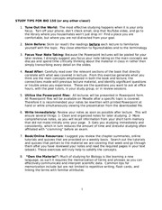 STUDY TIPS FOR BIO 150_Fall 2013