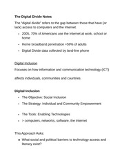 The Digital Divide Notes