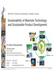 Ch. 6 - Sustainability of Materials Technology