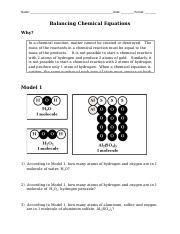 Balancing chemical equations pogil activity answer key
