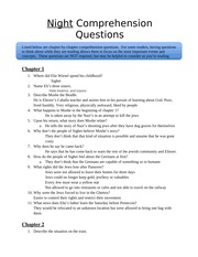 English G10 Class Notes  Night comprehension questions(Coursepack)