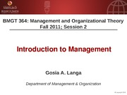 BMGT 364 Session 2 - Introduction to Management