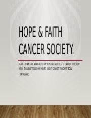 Hope & faith Cancer society.pptx