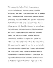Essay on Free Speech for All