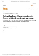 Gujarat land row_ Allegations of undue favour politically motivated, says govt - Livemint