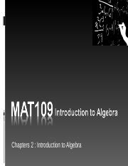 MAT109 Introduction to Algebra Live Chat 2.ppt