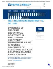 Philippine EJournals_ EVIDENCES OF PROGRAM EDUCATIONAL OBJECTIVES IN EMPLOYED BS HOSPITALITY MANAGEM