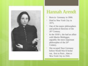 Hannah Arendt 1. (Feb. 16th Presentation)