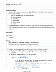 09-14  Class Notes CS 107