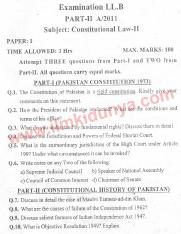 Past Papers 2011 LLB Part 2 Constitutional Law Paper 1