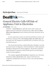 General Electric Calls Off Sale of Appliance Unit to Electrolux - The New York Times