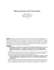 Measurements and Uncertainty report