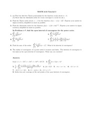 Math 2132 Tutorial 3 and 4