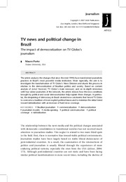 tv news and political change in brazil