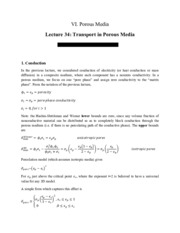 Transport in Porous Media notes