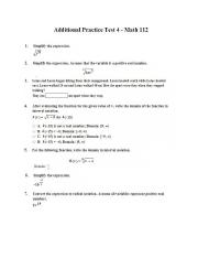 Math 112 Additional Practice Test 4