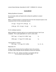 Lecture Notes Nov 20 Equilibrium LeChatelier CHEM135 Dr. Johnson