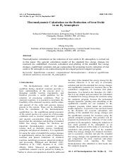 Thermodynamic Calculation on the Reduction of Iron Oxide in an H2 Atmosphere[#76735]-65710.pdf