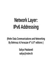 Internet Protocol and Adressing III IPv6