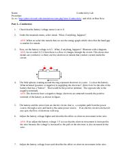 physics 2. Phet conductivity -chapter 15