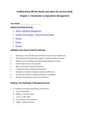 Operations Management Chapter 1 Study Notes