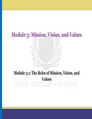 Module 3.1_The Roles of Mission, Vision, and Values