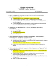 Test #2B Practice Questions Revised Summer 2012