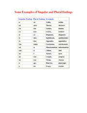 Chapter 1-b Examples of Singular and Plural Endings