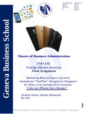 FMA 601 Final Assignment - Foreign Market Analysis -Hamdy-Mohamed-961