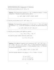 MATH 3120 Fall 2014 Assignment 11 Solutions