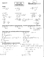 Printables Algebra 2 Review Worksheet math algebra 2 grosse pointe south high school course hero 3 pages 5 1 quiz review answer key