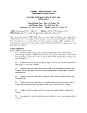 Honors Natural Science II Syllabus