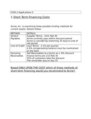 Short Term Financial Banking Outline