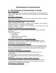 Business of Construction - Student Notes