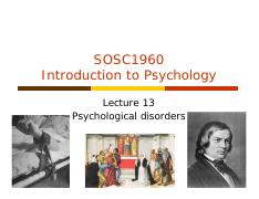 Lecture 13 Psychological Disorders