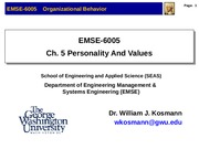Lecture 5 Personality & Values