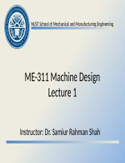ME-311 Machine Design - Lecture 1