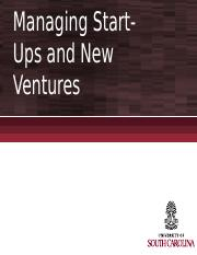 Chapter 6 - Managing Start-Ups and New Ventures