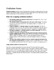 Lecture Note - Oxidation States